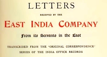 letters received by East India Co.